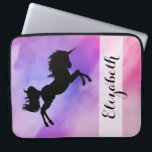 "Pastel Pink Purple Unicorn Designed Laptop Sleeve<br><div class=""desc"">COlourfull texture with Unicorn Silhouette and your name on it !</div>"