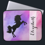 """Pastel Pink Purple Unicorn Designed Laptop Sleeve<br><div class=""""desc"""">COlourfull texture with Unicorn Silhouette and your name on it !</div>"""