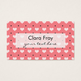 pastel pink red love hearts, polka dots pattern business card
