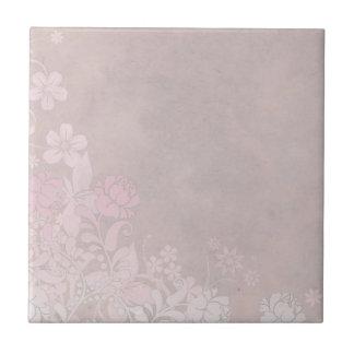Pastel Pink Rose and Flowers Ceramic Tile
