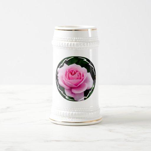 Pastel Pink Rose Beer Stein Coffee Mug