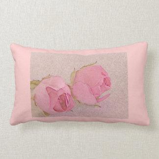 Pastel Pink Rose Lumbar Pillow