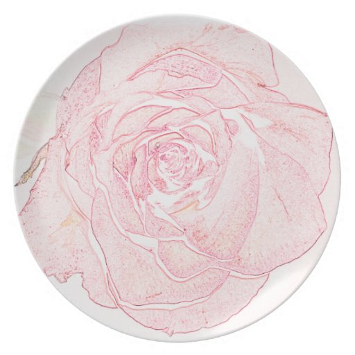 Pastel Pink Rose Party Plates