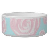 Pastel Pink Rose Pattern on Light Blue. Bowl