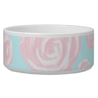 Pastel Pink Rose Pattern on Light Blue. Dog Water Bowl