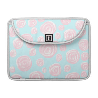 Pastel Pink Rose Pattern on Light Blue Sleeves For MacBook Pro