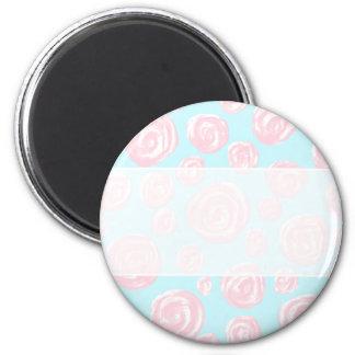 Pastel Pink Rose Pattern on Light Blue. Magnet