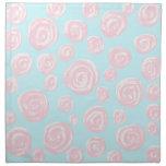 Pastel Pink Rose Pattern on Light Blue. Printed Napkins