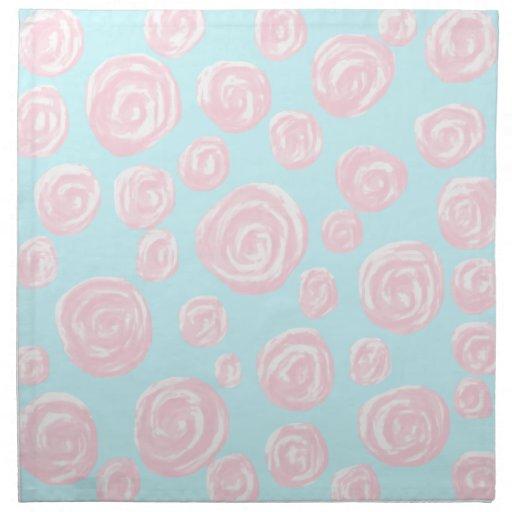 Pastel Pink Rose Pattern on Light Blue. Napkin