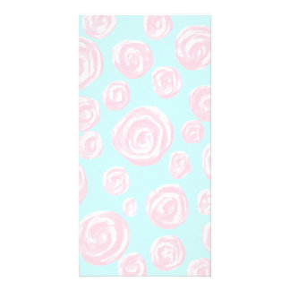 Pastel Pink Rose Pattern on Light Blue. Photo Card