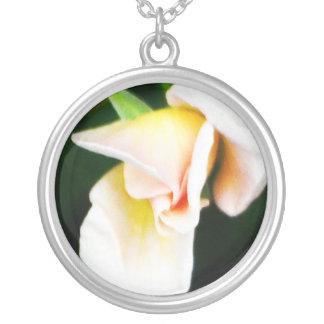 Pastel Pink Rosebud Round Pendant Necklace