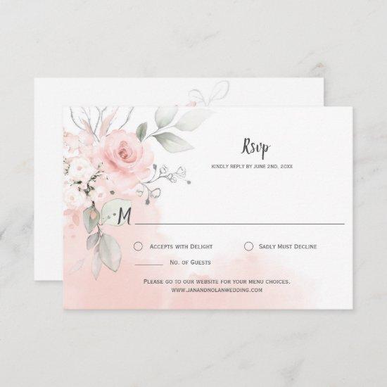 Pastel Pink Roses Pale Pink Watercolor Wash RSVP Card