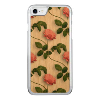 Pastel Pink Roses Pattern Carved iPhone 8/7 Case
