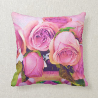 Pastel Pink Roses Throw Pillow