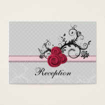 pastel pink roses wedding Reception Cards
