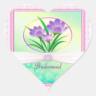 Pastel Pink & Seafoam Green Spring Flowers Wedding Heart Sticker
