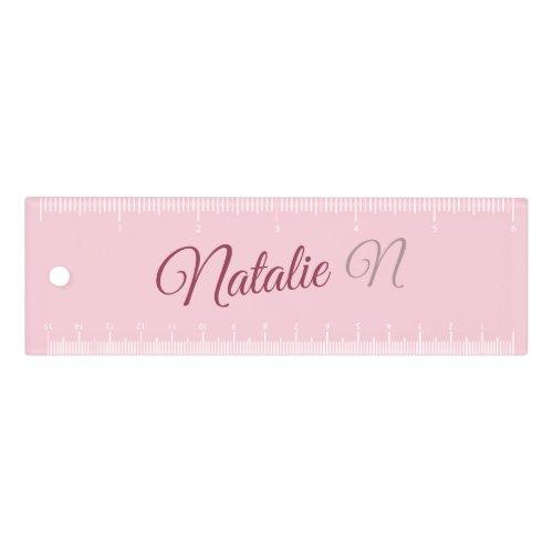 Pastel pink solid color monogrammed ruler