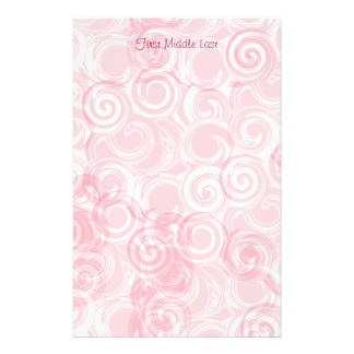 Pastel Pink Spiral Custom Template Background Stationery