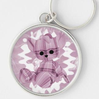 Pastel Pink Spiral Smoke Teddy Bear Silver-Colored Round Keychain