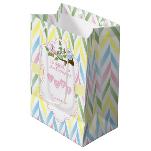 Pastel Pink Squirrel Design Sm - Baby Boy Shower Medium Gift Bag