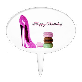 Pastel Pink Stiletto and French Macaroons Art Cake Topper