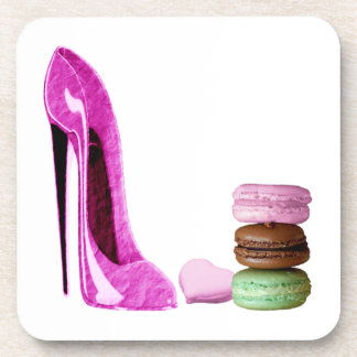 Pastel Pink Stiletto and French Macaroons Art Coaster