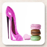 Pastel Pink Stiletto and French Macaroons Art Drink Coaster
