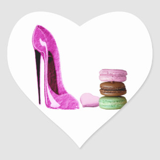 Pastel Pink Stiletto and French Macaroons Art Heart Sticker