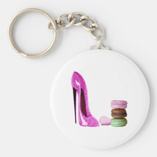 Pastel Pink Stiletto and French Macaroons Art Key Chains
