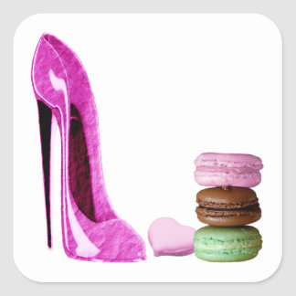 Pastel Pink Stiletto and French Macaroons Art Square Sticker