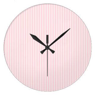 Pastel Pink Stripes. Large Clock