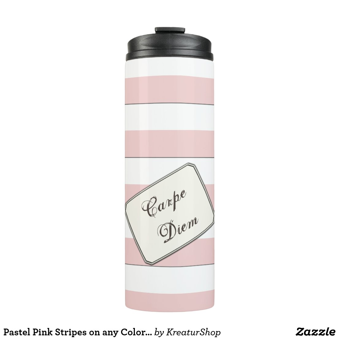 Pastel Pink Stripes on any Color any Text
