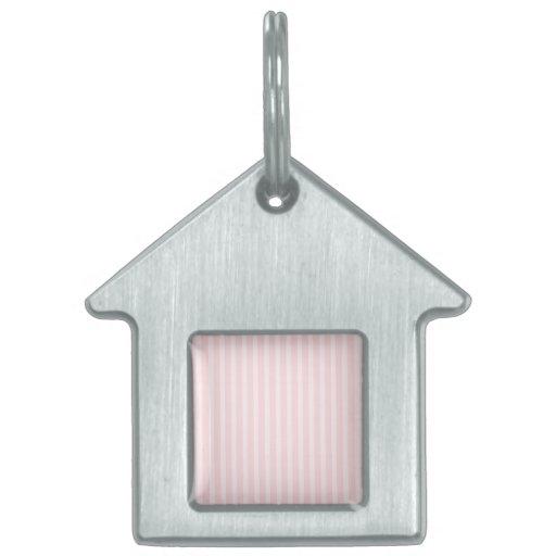 Pastel Pink Stripes. Pet Tag