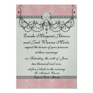 pastel pink swirl damask chic design card