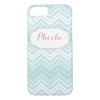 Pastel Pink & Teal Chevron Zigzag Personalized iPhone 7 Case