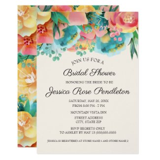 Pastel Pink Teal Yellow Floral Bridal Shower Invitation