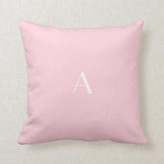 Pastel Pink Throw Pillow w White Monogram