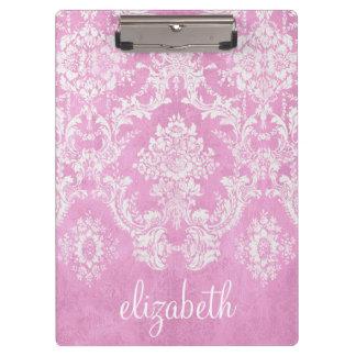 Pastel Pink Vintage Damask Pattern Grungy Finish Clipboard