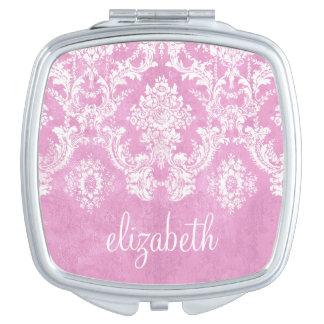 Pastel Pink Vintage Damask Pattern Grungy Finish Compact Mirror