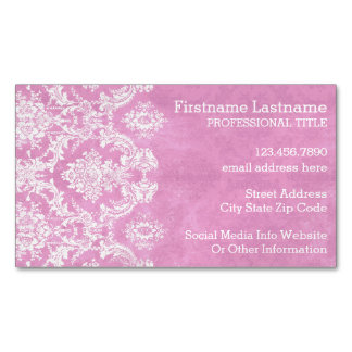 Pastel Pink Vintage Damask Pattern Grungy Finish Magnetic Business Cards (Pack Of 25)