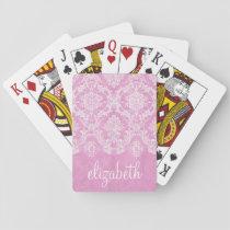 Pastel Pink Vintage Damask Pattern Grungy Finish Playing Cards