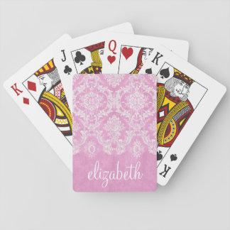 Pastel Pink Vintage Damask Pattern Grungy Finish Poker Deck