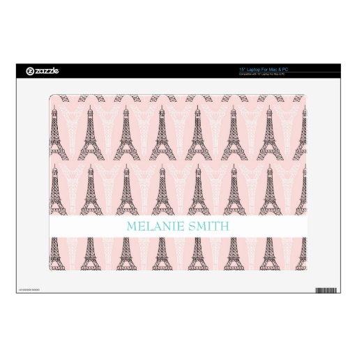 Pastel Pink Vintage Eiffel Tower Pattern Laptop Decals