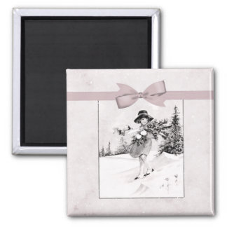 Pastel Pink Vintage Girlie In Snow 2 Inch Square Magnet