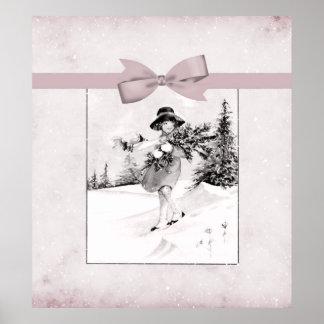 Pastel Pink Vintage Girlie In Snow Posters