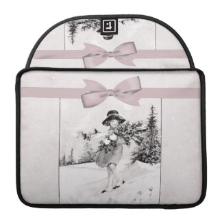 Pastel Pink Vintage Girlie In Snow Sleeve For MacBook Pro
