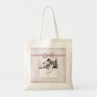 Pastel Pink Vintage Girlie In Snow Tote Bag