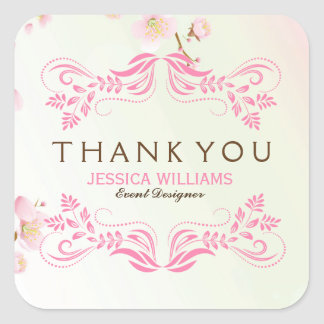 Pastel Pink & White Cherry Blossom Thank You Square Sticker