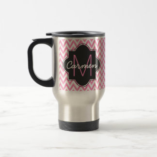 Pastel Pink & White Chevron Monogram 15 Oz Stainless Steel Travel Mug