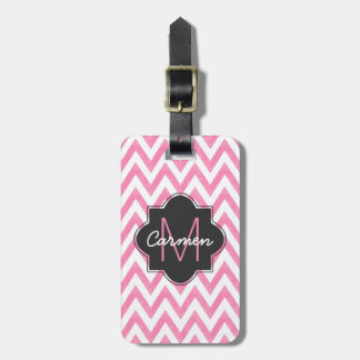 Pastel Pink & White Chevron Monogram Bag Tag